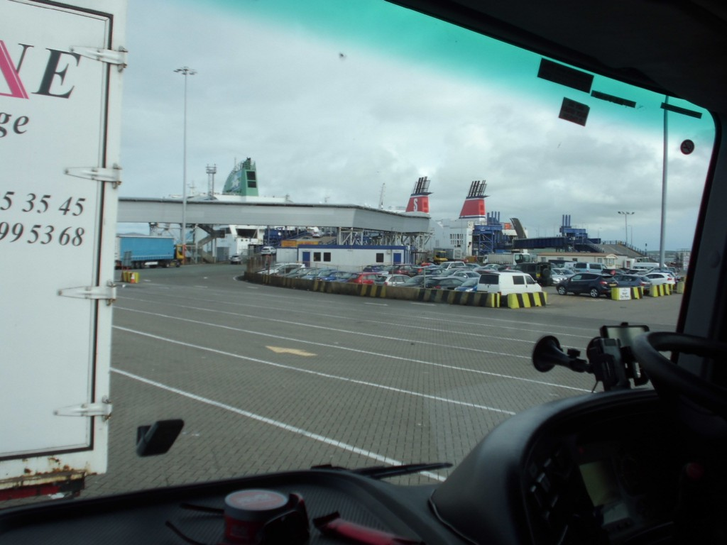 Waiting in line to Board the Boat to Ireland.